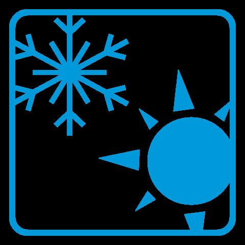 Schneeflocke und Sonne Icon
